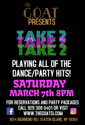 TAKE 2<BR><BR>SATURDAY, MARCH 7TH, 2020<BR>STARTS AT 8 PM