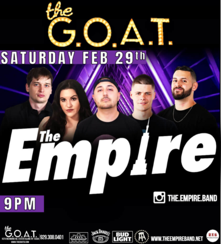 THE EMPIRE<BR><BR><BR>SATURDAY, FEBRUARY 29TH, 2020<BR><BR>FOR RESERVATIONS<BR>AND PARTY PACKAGES<BR>CALL 929-308-0401<BR><BR>STARTS AT 9 PM