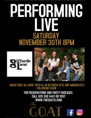 GIFFORDS LANE<BR><BR>SATURDAY, NOVEMBER 30TH, 2019<BR><BR>FOR RESERVATIONS<BR>AND PARTY PACKAGES<BR>CALL 929-308-0401<BR><BR>TIME: 8PM