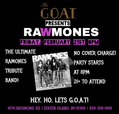 RAWMONES<BR>THE ULTIMATE RAMONES TRIBUTE BAND<BR><BR>FRIDAY, FEBRUARY 21ST, 2020<BR><BR>NO COVER CHARGE!<BR>21+ TO ATTEND<BR><BR>PARTY STARTS AT 8 PM