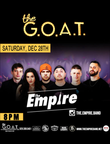 THE EMPIRE<BR><BR>SATURDAY, DECEMBER 28TH, 2019<BR><BR>FOR RESERVATIONS<BR>CALL 929-308-0401<BR><BR>TIME: 8 PM
