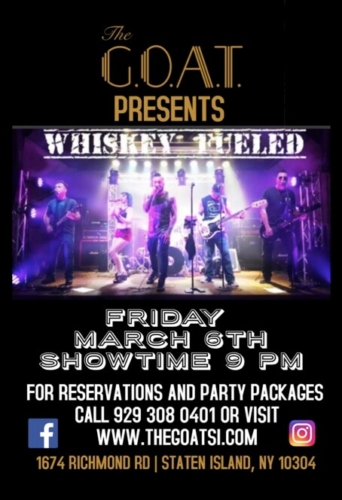 WHISKEY FUELED<BR><BR><BR>FRIDAY, MARCH 6TH, 2020<BR><BR>FOR RESERVATIONS<BR>AND PARTY PACKAGES<BR>CALL 929-308-0401<BR><BR>STARTS AT 9 PM